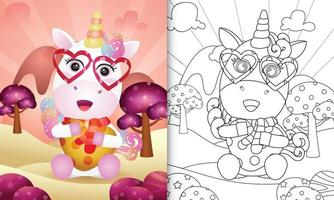 livro de colorir para crianças com um lindo unicórnio abraçando um coração para o dia dos namorados vetor