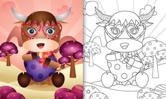 livro de colorir para crianças com um lindo búfalo abraçando um coração para o dia dos namorados vetor