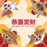 saudação de ano novo chinês com 4 bois fofos vetor