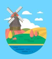 Projeto plano de moinho de vento vetor