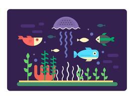vida marinha plana vetor
