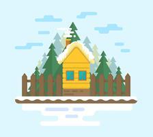 Casa de madeira plana vetor