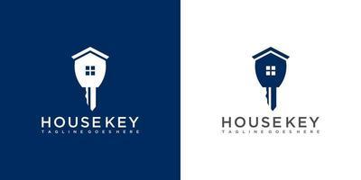 design de logotipo de imobiliária chave vetor