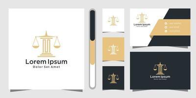 design de logotipo e cartão de visita de escritório de advocacia vetor