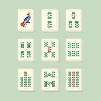 Mahjong combina com telhas de bambu vetor