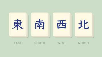 Mahjong homenageia ventos de telhas vetor