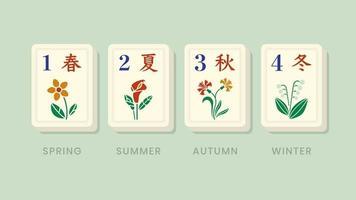 peças de bônus florais das estações de mahjong vetor