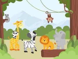 animais bebês na selva vetor