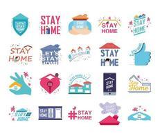 conjunto de ícones para campanha fica em casa, prevenção de coronavírus vetor
