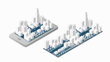 3D mapa da cidade isométrica vetor