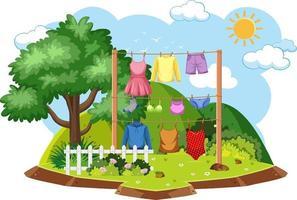 secando roupas em cena ao ar livre vetor