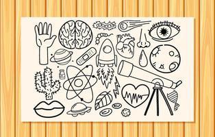 diferentes traços de doodle sobre equipamentos científicos em um papel vetor