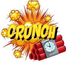 balão de fala em quadrinhos com texto crunch vetor