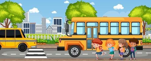 estudante indo para a escola de ônibus escolar vetor