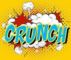 palavra crunch no fundo da explosão de nuvem em quadrinhos vetor