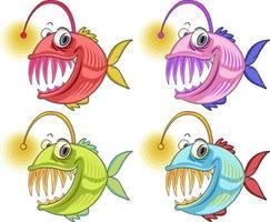 personagem de desenho animado de peixe pescador isolado no fundo branco vetor