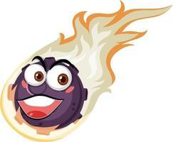 personagem de desenho animado de meteoro de chama com expressão de rosto feliz em fundo branco vetor