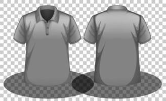 frente e verso de uma camisa pólo cinza com fundo transparente vetor