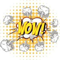balão de fala em quadrinhos com texto uau vetor