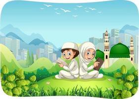 parque ao ar livre com personagem de desenho animado de irmã e irmão muçulmano vetor