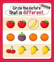 circule a imagem que é uma atividade diferente para crianças vetor