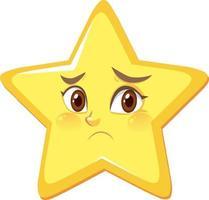 estrela de desenho animado com expressão de rosto desapontado em fundo branco vetor