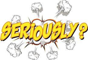 balão de fala em quadrinhos com texto sério vetor