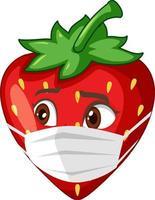 personagem de desenho animado de morango com expressão facial vetor