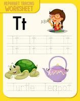 planilha de rastreamento do alfabeto com as letras t e t vetor