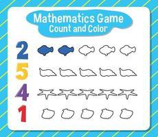 contagem de jogos de matemática e planilha de cores para o aluno vetor