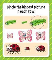 circule a maior imagem em cada planilha de linha para crianças vetor