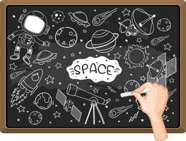 mão desenhando elemento de espaço no quadro-negro vetor