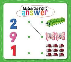 combinar a atividade de resposta certa para crianças vetor