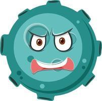 personagem de desenho animado de asteróide com expressão de raiva no fundo branco vetor
