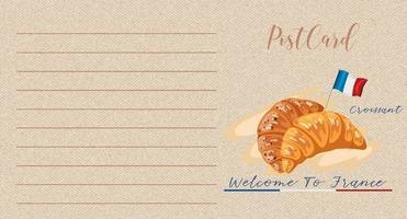 postal vintage em branco com croissants e bandeira da França vetor