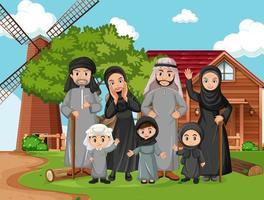 cena ao ar livre com membro da família árabe vetor