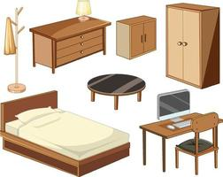 objetos de mobília de quarto isolados no fundo branco vetor