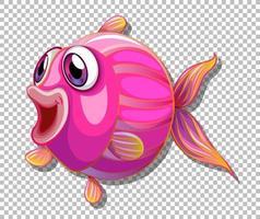 Peixe fofo com personagem de desenho animado de olhos grandes em fundo transparente vetor