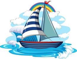 um veleiro nas ondas de água isoladas no fundo branco vetor