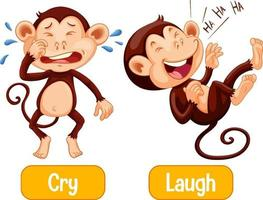 palavras opostas com choro e risada vetor