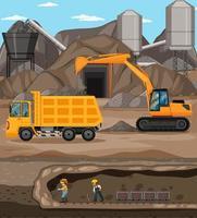paisagem da cena de mineração de carvão com guindaste e caminhões vetor