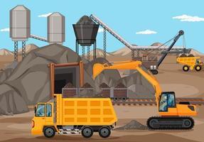 paisagem da cena de mineração de carvão vetor