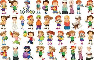 crianças fazendo atividades diferentes conjunto de personagens de desenhos animados vetor