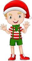 menino bonito vestindo fantasias de natal personagem de desenho animado vetor