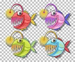 personagem de desenho animado de peixe pescador isolado em fundo transparente vetor