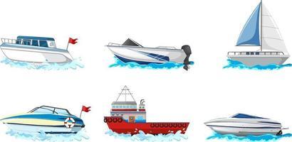 conjunto de diferentes tipos de barcos e navio isolado no fundo branco vetor