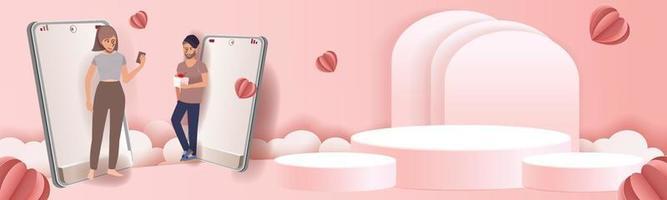 Pódio de arte em papel para show e casal no celular enviando corações rosa e amor vetor