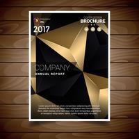 Modelo de Design de brochura de triângulos abstratos em branco e ouro vetor