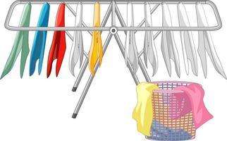 pendurar roupas com cesto de roupa suja no fundo branco vetor