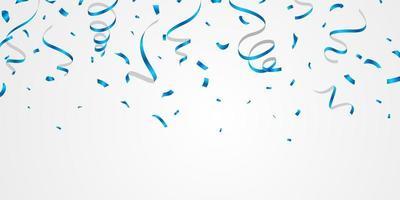 confete azul e fitas. modelo de fundo de celebração